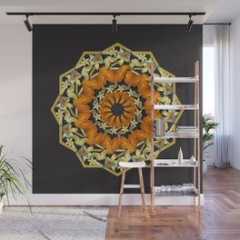 Kaleidoscope of butterflies and flowers Wall Mural