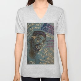 BrentF,original,mixed media,painting,poster,sketch,wall art,canvas,singer,rnb,soul,music,hand,son Unisex V-Neck