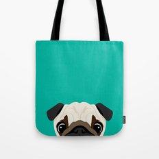 Peeking Pug Tote Bag