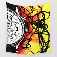 wall clock Wall Tapestries featuring Clock by Anand Brai