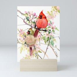 Cardinal Birds and Spring, cardinal bird design Mini Art Print