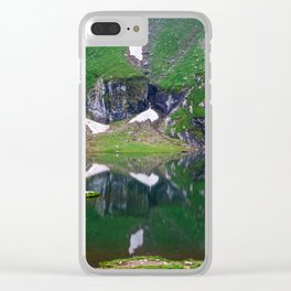 Green Lake Reflection Clear iPhone Case