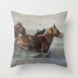 Mustangs Getting Out of a Muddy Waterhole the Fast Way painterly Throw Pillow