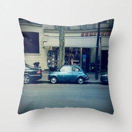 Parking in Paris isn't so hard...when you've got a tiny car! Throw Pillow