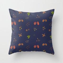Indanthrone Blue Garam Masala Pattern Throw Pillow