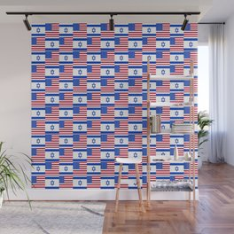 Mix of flag : usa and israel Wall Mural