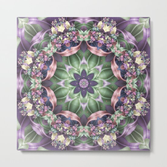 Fractal Ribbon Mandala in Purple, Green, Pink and Yellow Metal Print