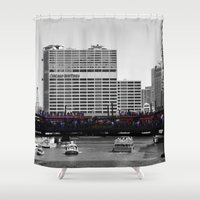 blackhawks Shower Curtains featuring Chicago Blackhawks 2013 Championship Parade Route by Michael A. Hubatch