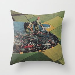 Salmon Farm Throw Pillow