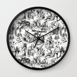 Alice in Wonderland   Toile de Jouy   Black and White Wall Clock