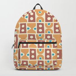 Mid Century Abstract Pattern Beige Brown Cerulean Backpack