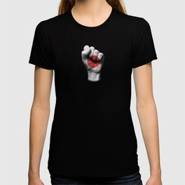 Japanese Flag on a Raised Clenched Fist T-shirt