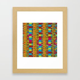 Abstract hand drawn Ethno design  in vivid colours. Framed Art Print