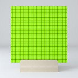 Green Grid Black Line Mini Art Print