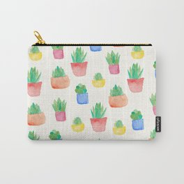 Watercolour Potted Succulents Pattern Carry-All Pouch