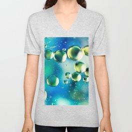Macro Water Droplets  Aquamarine Soft Green Citron Lemon Yellow and Blue jewel tones Unisex V-Neck