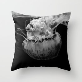 Jellyfish in Black & White Throw Pillow