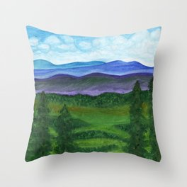 View from a mountain slope to distant mountains and forests Throw Pillow