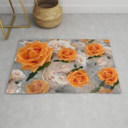 CORAL ROSES AND CHERRY BLOSSOMS Rug