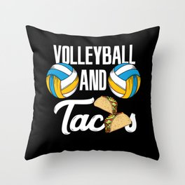 Volleyball And Tacos Fast Food Sports Gift Throw Pillow