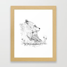 Mom and Baby Grizzly Bear Framed Art Print