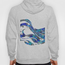 Blue And White Abstract Art - WaveBlue And White Modern Art - Wave 3 - Sharon  3 - Sharon Cummings Hoody