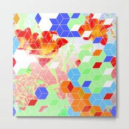 Pop Floral Cube Pattern 2  #fashion #pattern #lifestyle Metal Print