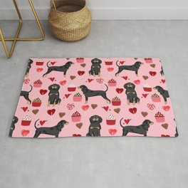 Coonhound love cupcakes hearts valentines day cute dog breed gifts for coonhounds Rug