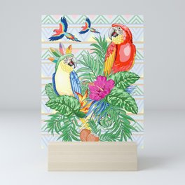 Macaws Parrots Exotic Birds on Tropical Flowers and Leaves Mini Art Print