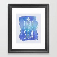 I Need Vitamin Sea Quote Framed Art Print