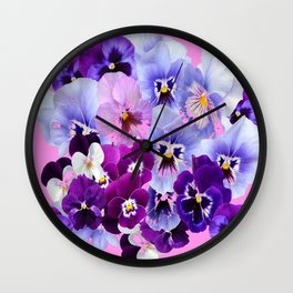 SPRING COLLECTION PURPLE-PINK PANSIES Wall Clock