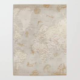 Vintage looking current world map with sea monsters and sail ships Poster