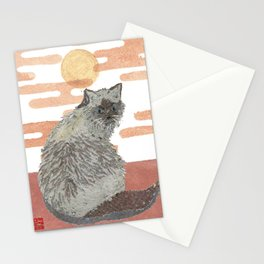 CAT, Pink Sunset, Mixed Media Stationery Cards