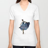 ballerina V-neck T-shirts featuring Ballerina  by Kelly Baskin