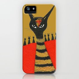 Morocco Gold Whimsical Cats iPhone Case