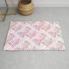 Pastel Color Palms Pattern Rug
