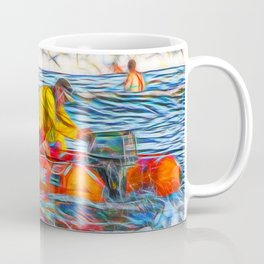 Abstract Surf rescue boat in action Coffee Mug