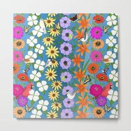 floral on Carolina blue, zinnias dogwoods rudbeckia anemone lilies, butterflies bees & birds Metal Print