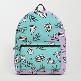 Burgers Pizza Fries in Pastel Backpack
