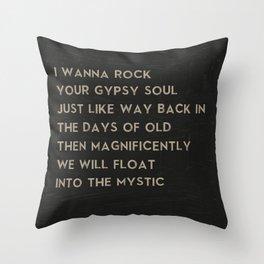 Into the Mystic Song Lyric Art from Van Morrison Lyrics Throw Pillow