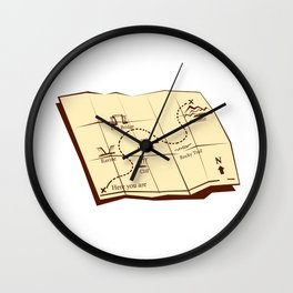 Map of Trail with X Marks The Spot Woodcut Wall Clock