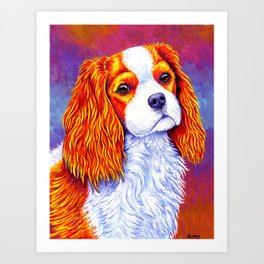 Colorful Cavalier King Charles Spaniel Art Print