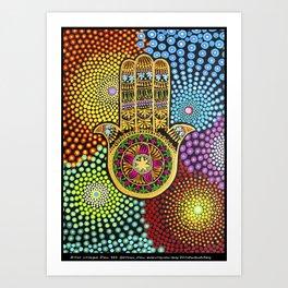 Hamsa Hand, hand of fatima, mandala, yoga art, mandala art, meditation art Art Print