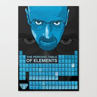 periodic table Canvas Prints featuring WALTER WHITE PERIODIC TABLE by Vloh
