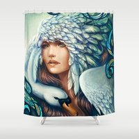 swan Shower Curtains featuring Swan by Bea González