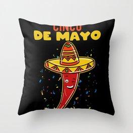 Cinco De Mayo Cilli With Sombrero Throw Pillow