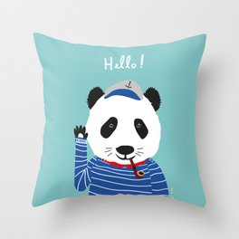 Mr. Panda Seaman Throw Pillow