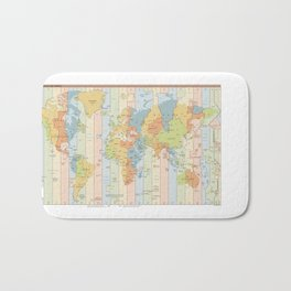 Standard Time Zones of the World Map Bath Mat