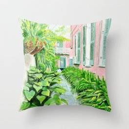 New Orleans Courtyard Throw Pillow