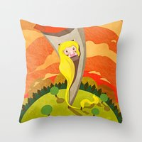 rapunzel Throw Pillows featuring Rapunzel by parisian samurai studio